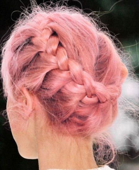 pastel pink crown braids