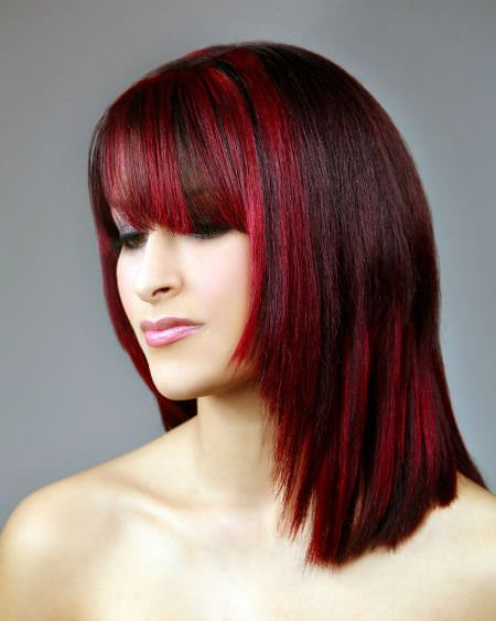 red base with red highlights shades of red hair for women