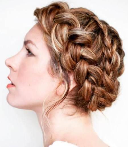 reddish brown crown braids