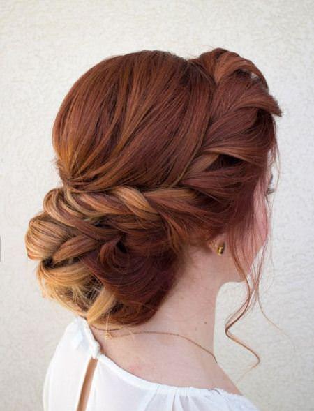 rope braid Updo wedding hairstyles for medium hair