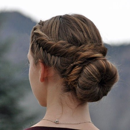 side fishtail with a bun hairstyles for teenage girls