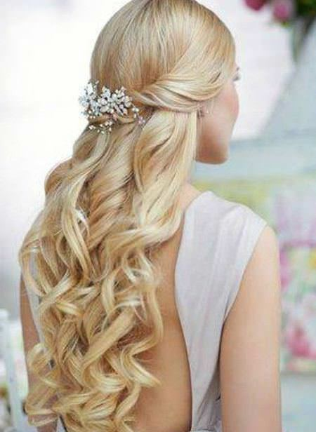 sweet half updo wedding hairstyles for long hair