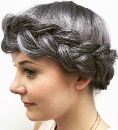 thick gray crown braids