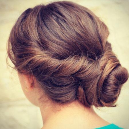 twisted side bun brunette hairstyles
