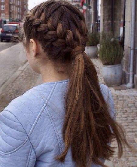 two braids and a pony hairstyles for long thick hair