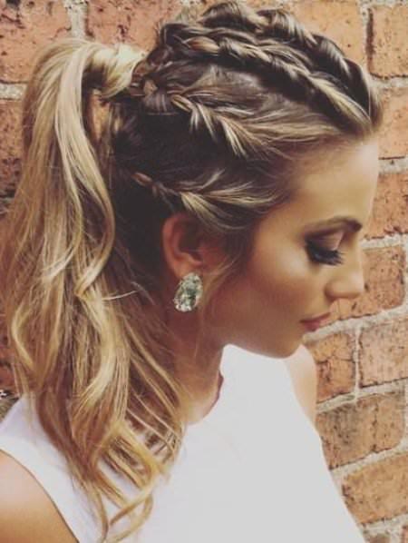 Braided Glam Hairstyle french braid ponytails