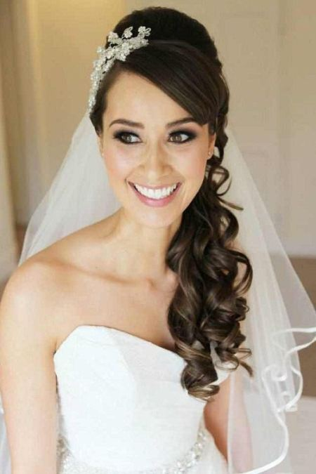 Curly hairstyles with bouffant and bridal viel wedding curly hairstyles