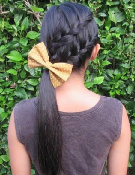Diagonally Braided Ponytail french braid ponytails