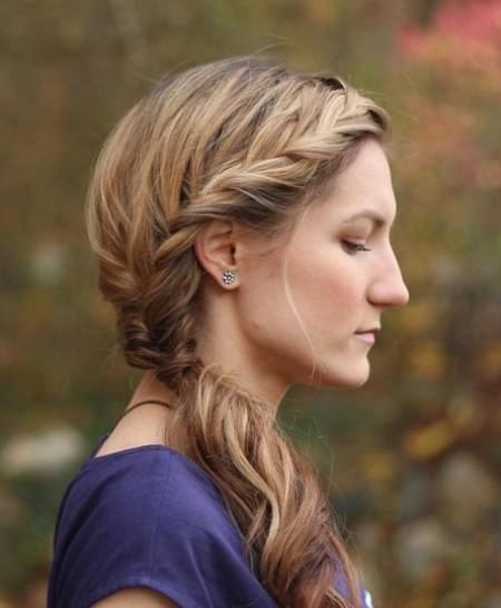 Flowy Side Braid french braid ponytails