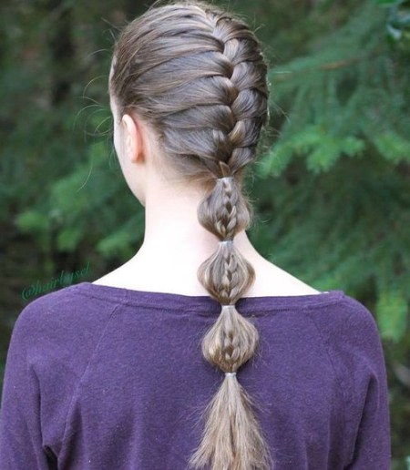 French briad with bubbles french braid ponytails