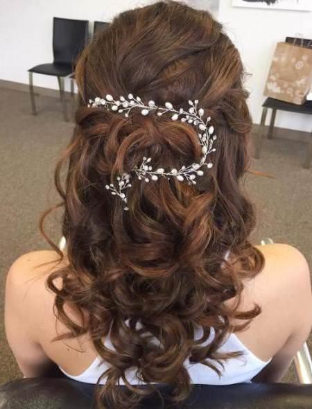 Half up curls half up and half down wedding hairstyles