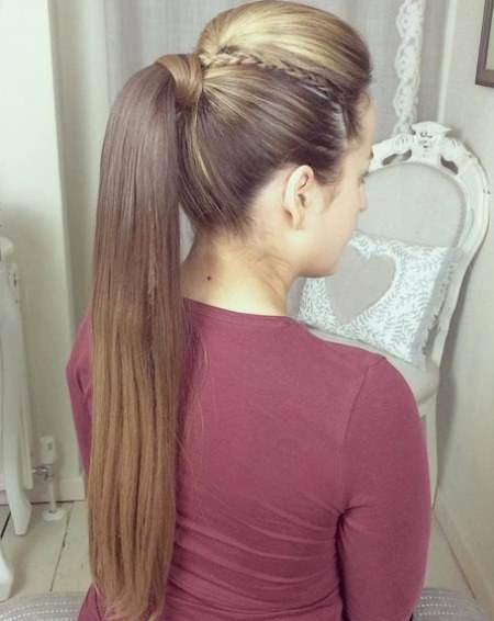 Long Elegant Ponytail french braid ponytails