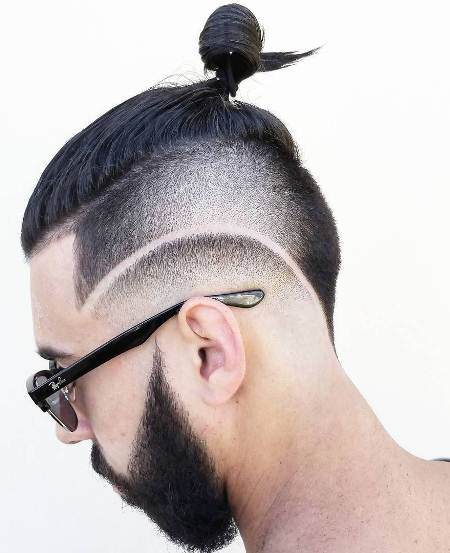 Long undercut with geometric design hairstyles for men with thick hair