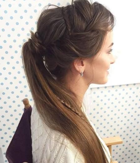 Regal Braided Up-Do french braid ponytails