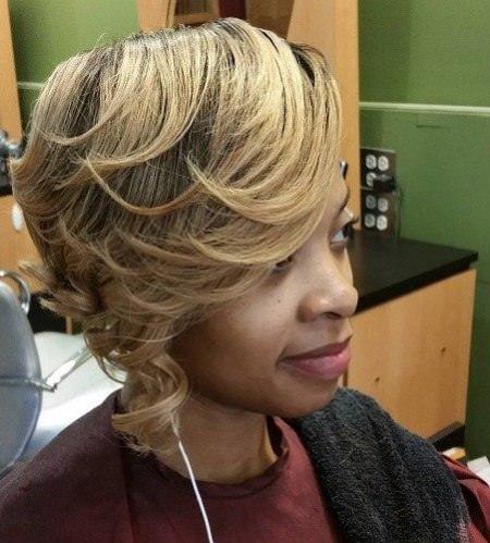 Romantic blonde short weave hairstyles
