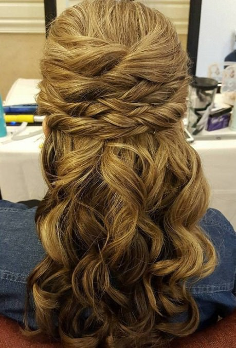 Sectioned twist half up and half down wedding hairstyles