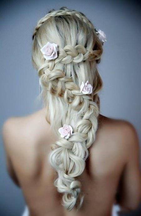 V shaped wedding downdo with Lace braid downdo wedding curly hairstyles