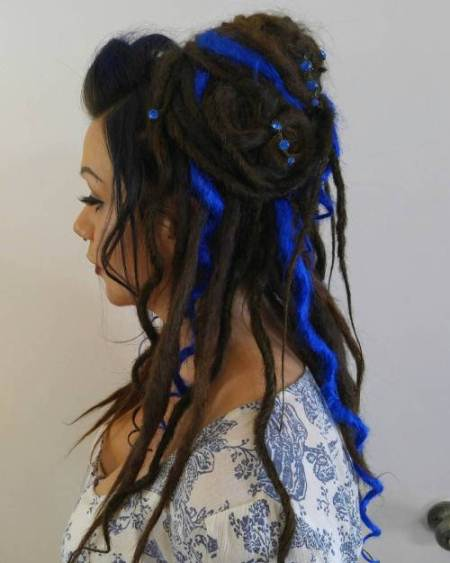 blue highlight in dread half updo dread locks for women