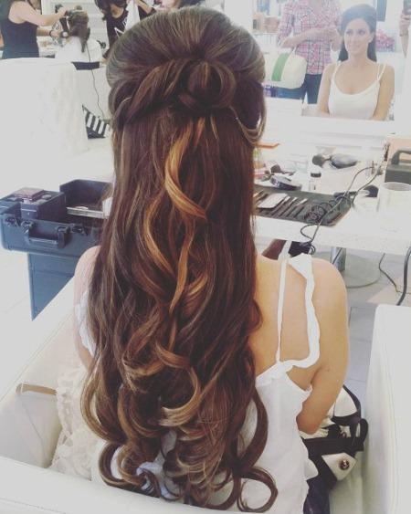 bumped twist half updo half up and half down wedding hairstyles