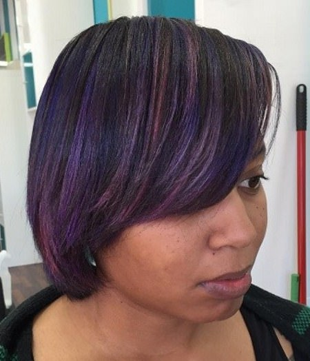 colorful highlights short weave hairstyles