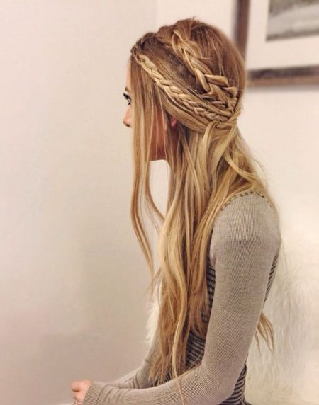 double braided look for straightend hair half up and half down wedding hairstyles