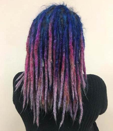 faded blue to purple dread dread locks for women