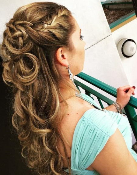 french braided half updo half up and half down wedding hairstyles
