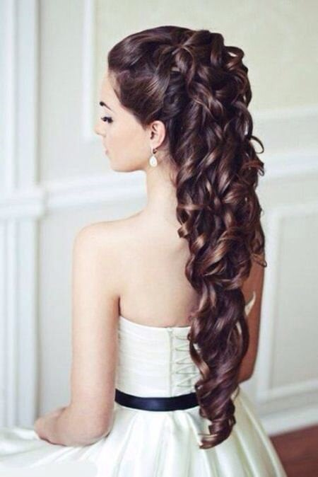 half up long wedding curly hairstyles