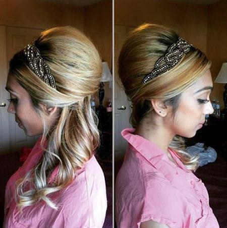 high blonde beehive haidos with headband