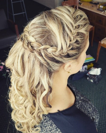 highlighted braided crown half up and half down wedding hairstyles
