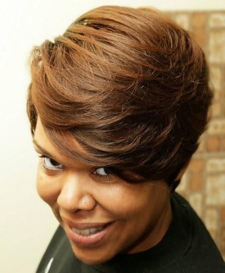 honey brown sidesweep short weave hairstyles