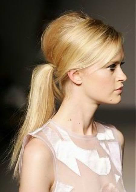 medium beehive with a ponytail beehive hairdos