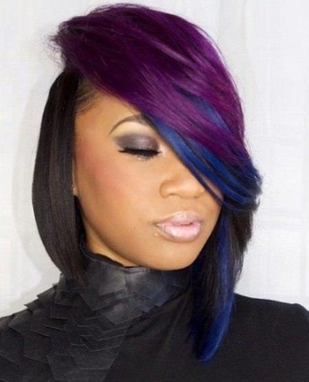 rainbow statement short weave hairstyles