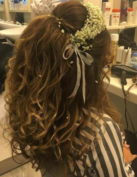 teased up styles half up and half down wedding hairstyles