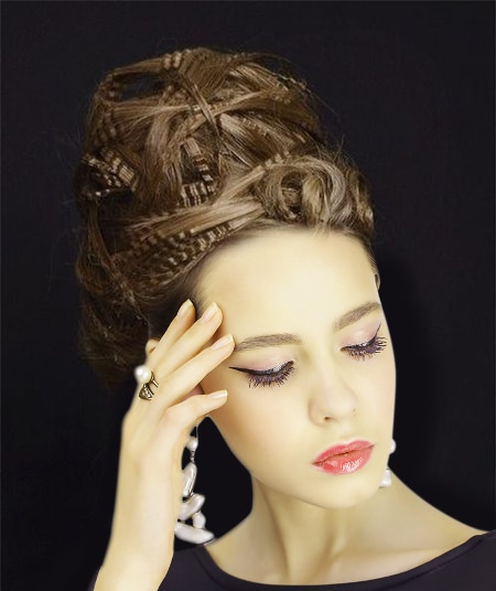 twisted and crimped beehive hairdos